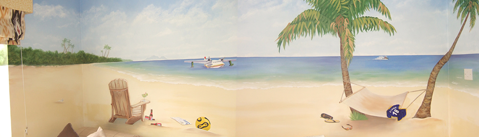 Full wall mural inspired by Jimmy Buffet Carribean